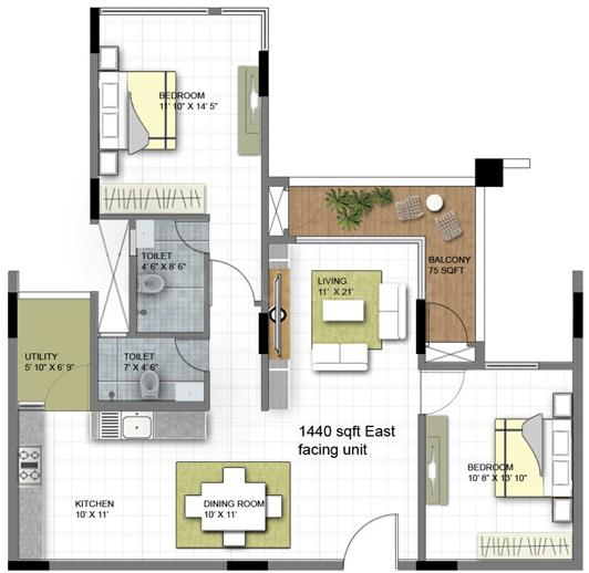 Prisha Orchids Floor Plan: 2 BHK Unit with Built up area of 1440 sq.ft 1