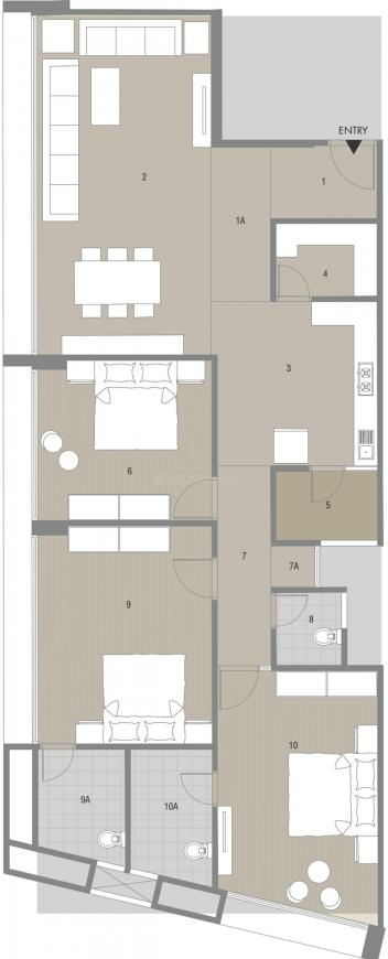 United Ishwar Magna Floor Plan: 3 BHK Unit with Built up area of 1270 sq.ft 1