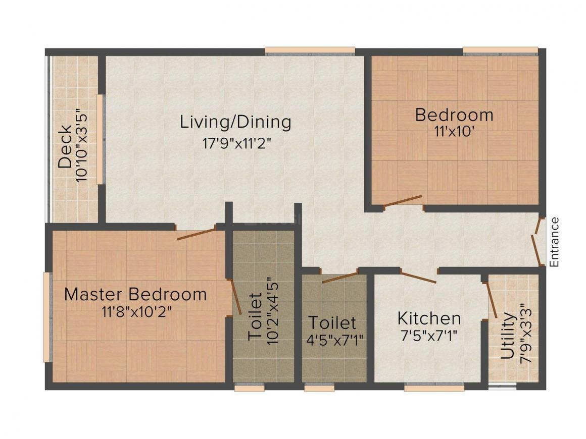 Floor Plan Image of 0 - 1320 Sq.ft 2 BHK Apartment for buy in Neelgiri Apartments