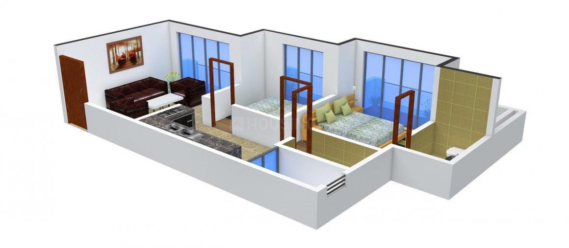Floor Plan Image of 1050.0 - 1270.0 Sq.ft 2 BHK Apartment for buy in Sanghvi Shree Mohankheda Heights
