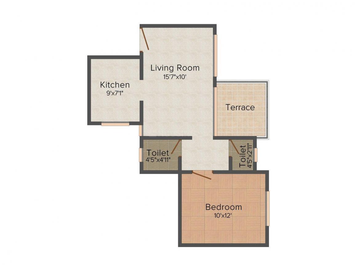 Floor Plan Image of 0 - 637.0 Sq.ft 1 BHK Apartment for buy in Saanvi Heights