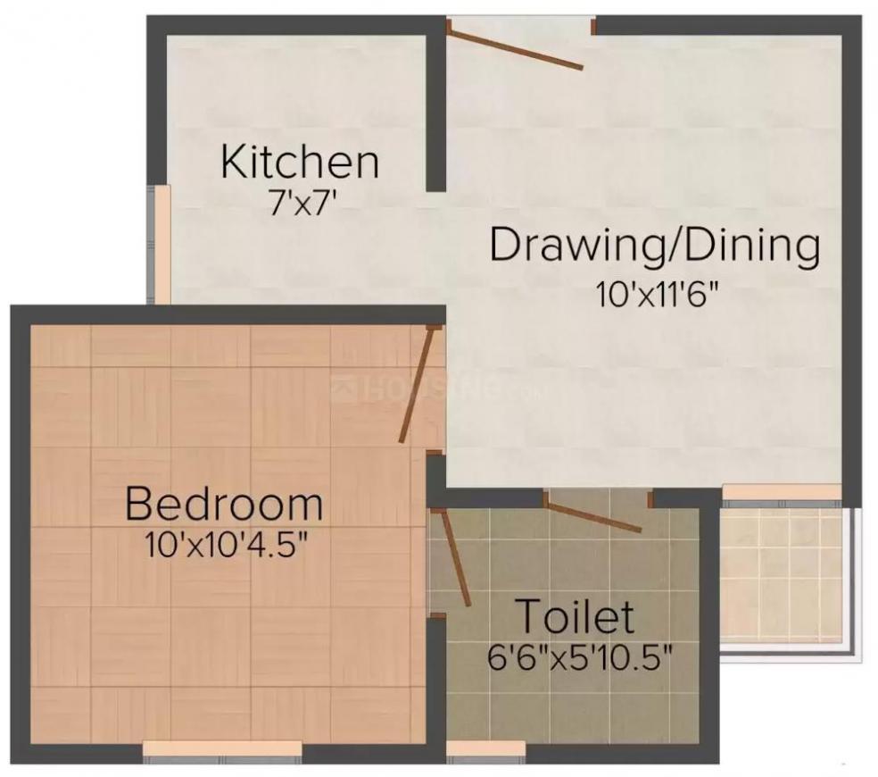 Levitate Sai Vatika Floor Plan: 1 BHK Unit with Built up area of 590 sq.ft 1