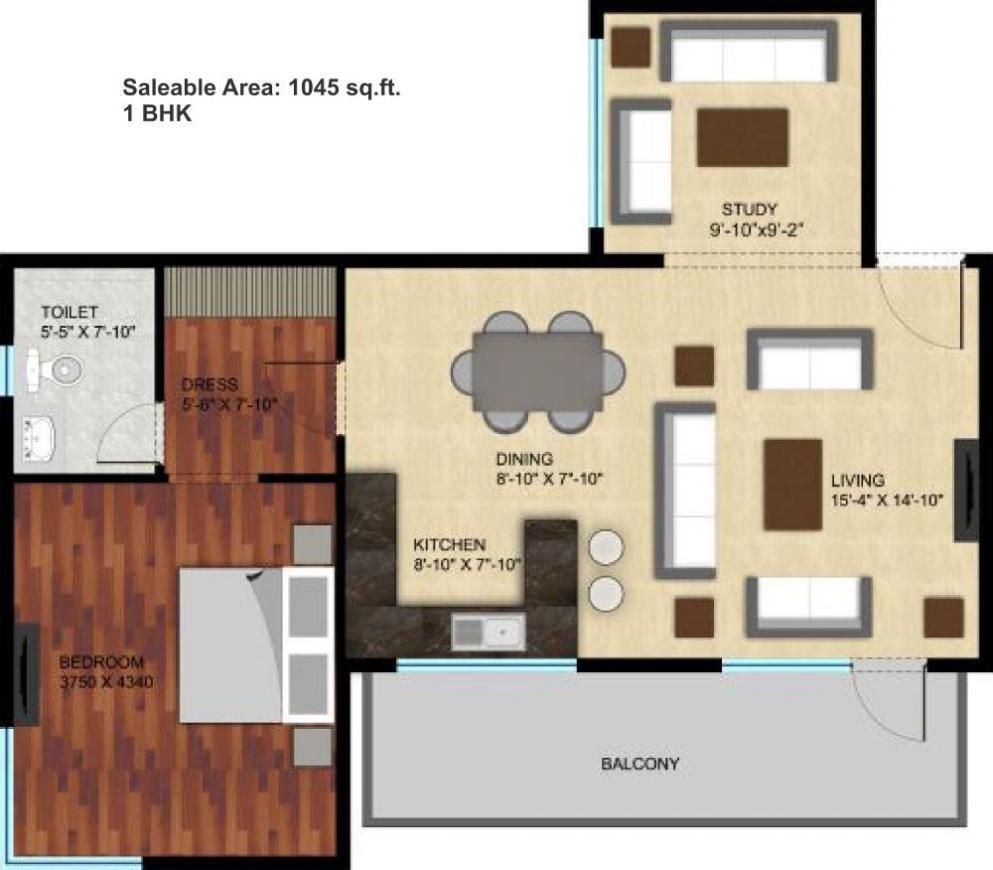 Raheja Atharva Floor Plan: 1 BHK Unit with Built up area of 1045 sq.ft 1