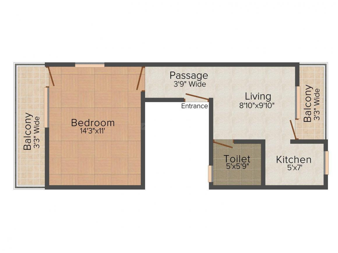 Floor Plan Image of 0 - 450 Sq.ft 1 BHK Independent Floor for buy in SBA Homes - IV