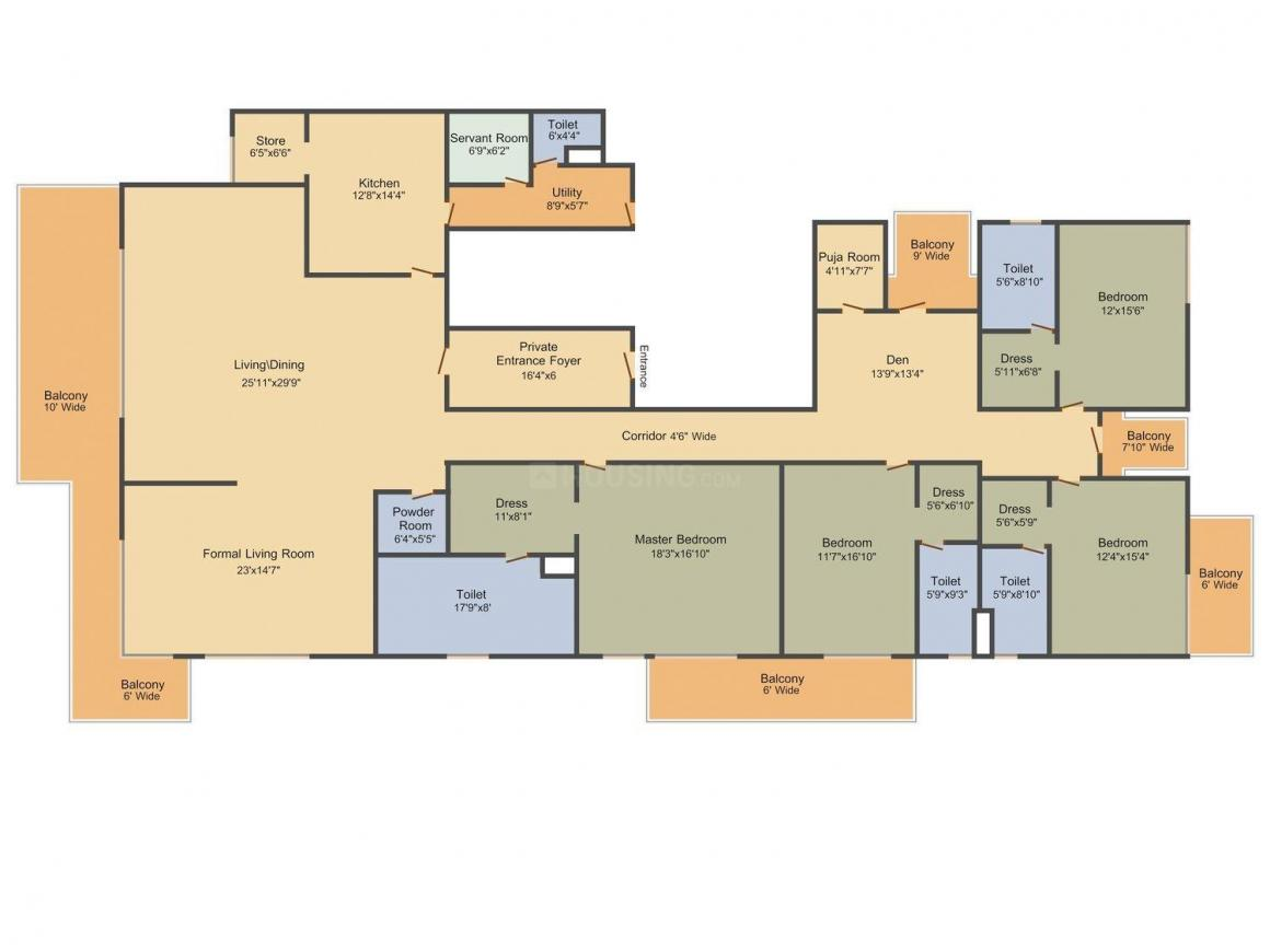Floor Plan Image of 6171.0 - 6450.0 Sq.ft 4 BHK Apartment for buy in M3M St.Andrews Golf Residences