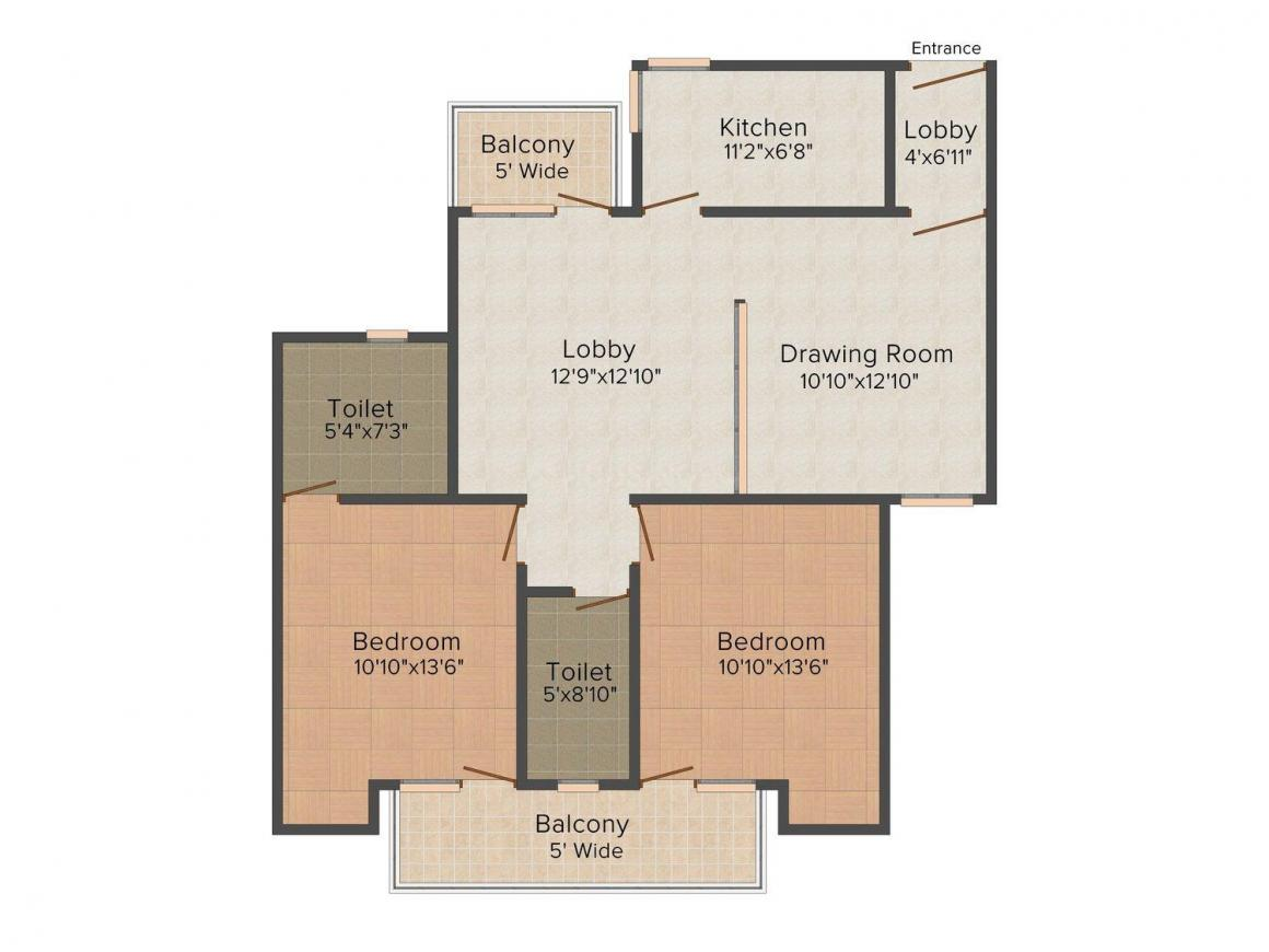 Tulip Heights Floor Plan: 2 BHK Unit with Built up area of 1375 sq.ft 1