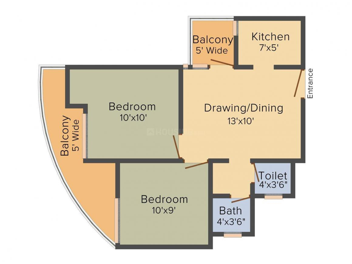 Floor Plan Image of 750.0 - 2300.0 Sq.ft 2 BHK Apartment for buy in Rise Organic Ghar