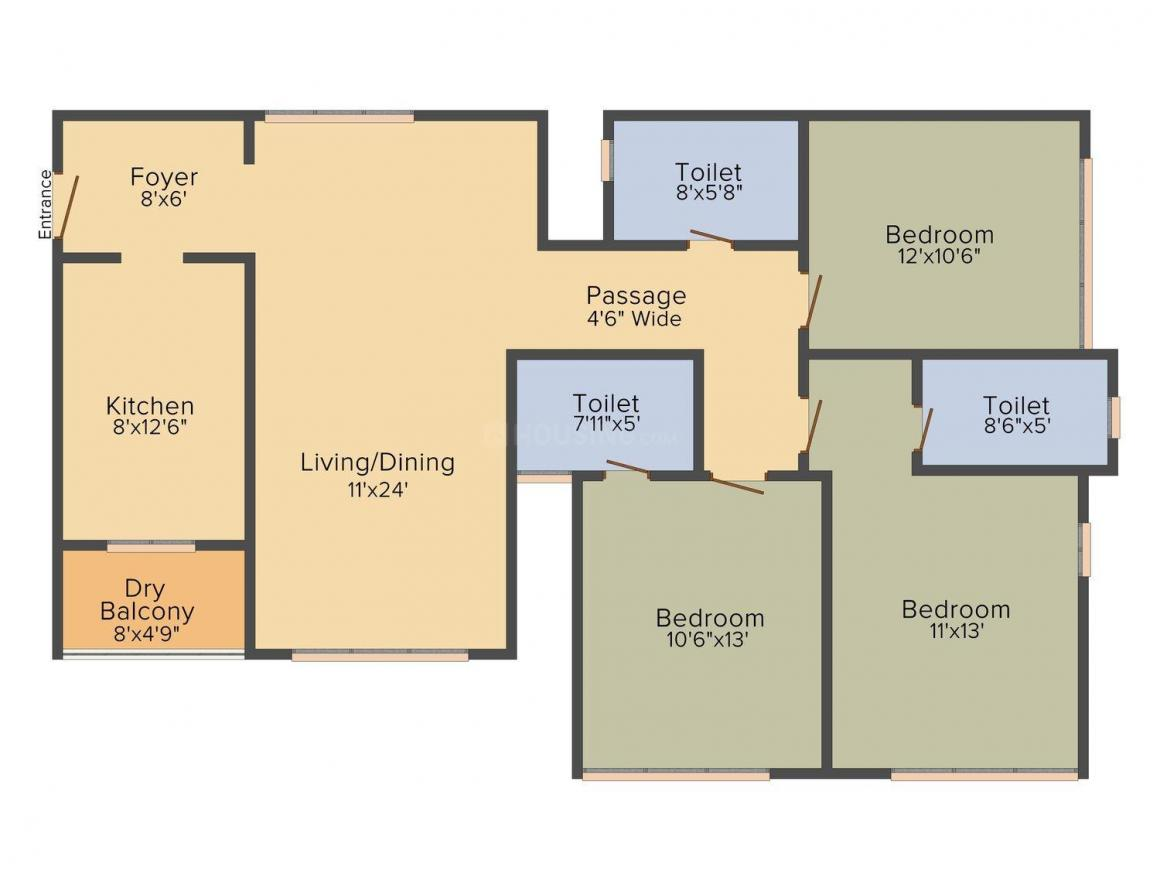 Floor Plan Image of 1832.0 - 2600.0 Sq.ft 3 BHK Apartment for buy in Satellite Glory
