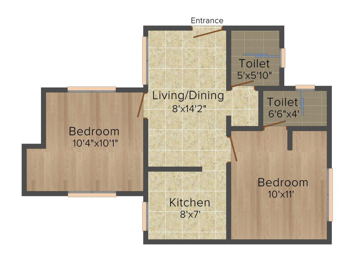 Floor Plan Image of 526.0 - 1023.0 Sq.ft 2 BHK Apartment for buy in VGN Tranquil