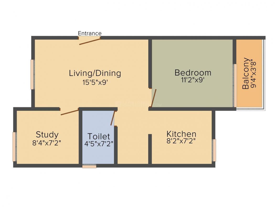 Alliance Humming Garden EWS Floor Plan: 2 BHK Unit with Built up area of 691 sq.ft 1