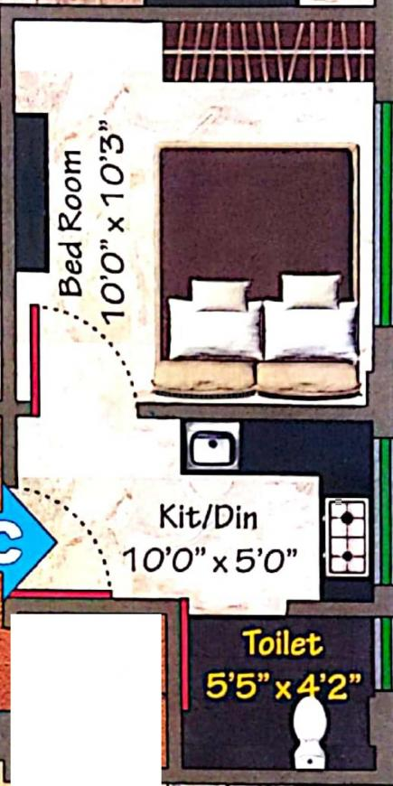 Dreamnest Floor Plan: 1 BHK Unit with Built up area of 240 sq.ft 1