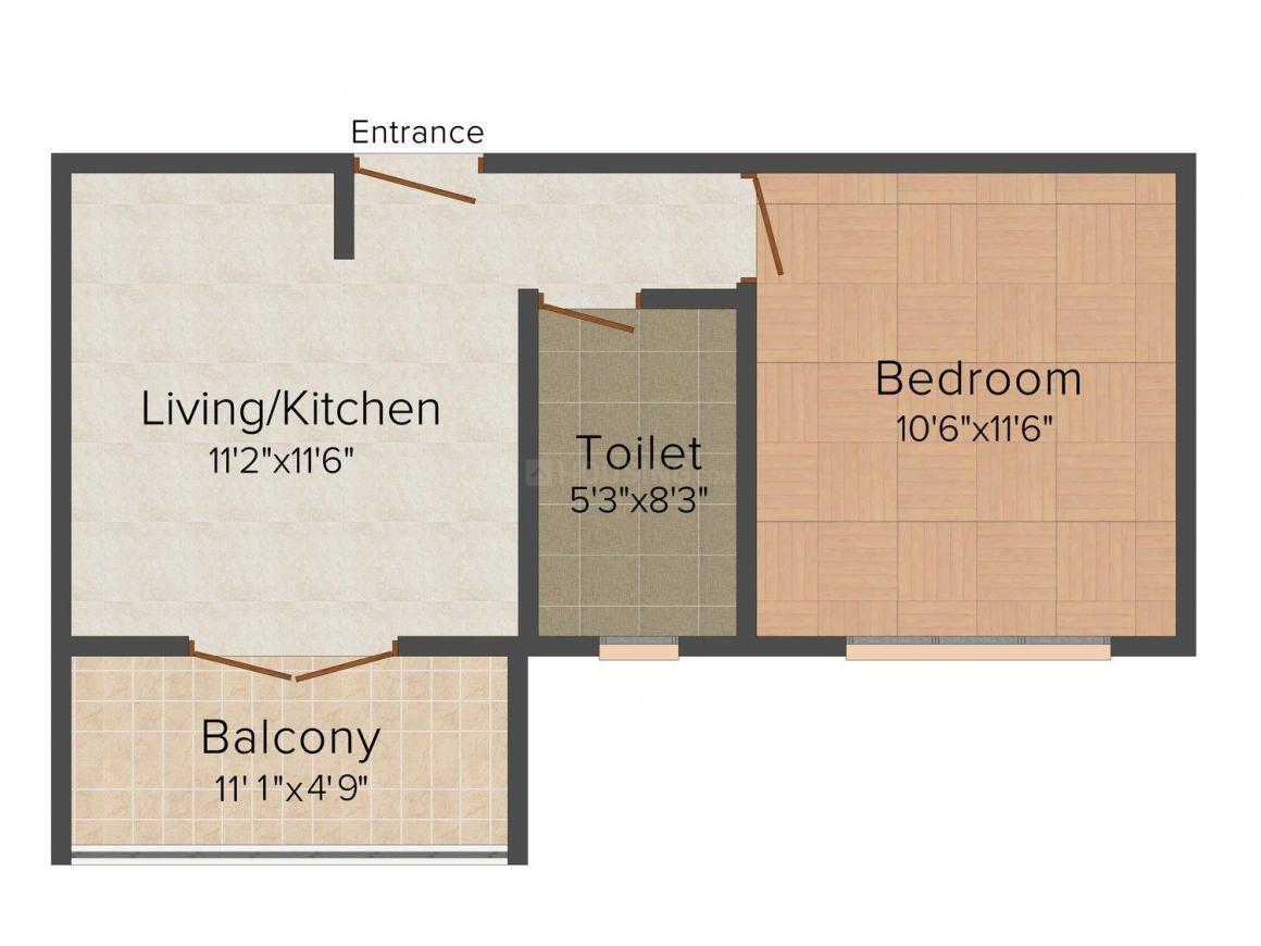 Floor Plan Image of 0 - 485 Sq.ft 1 BHK Studio Apartment for buy in Ramcons Residency II