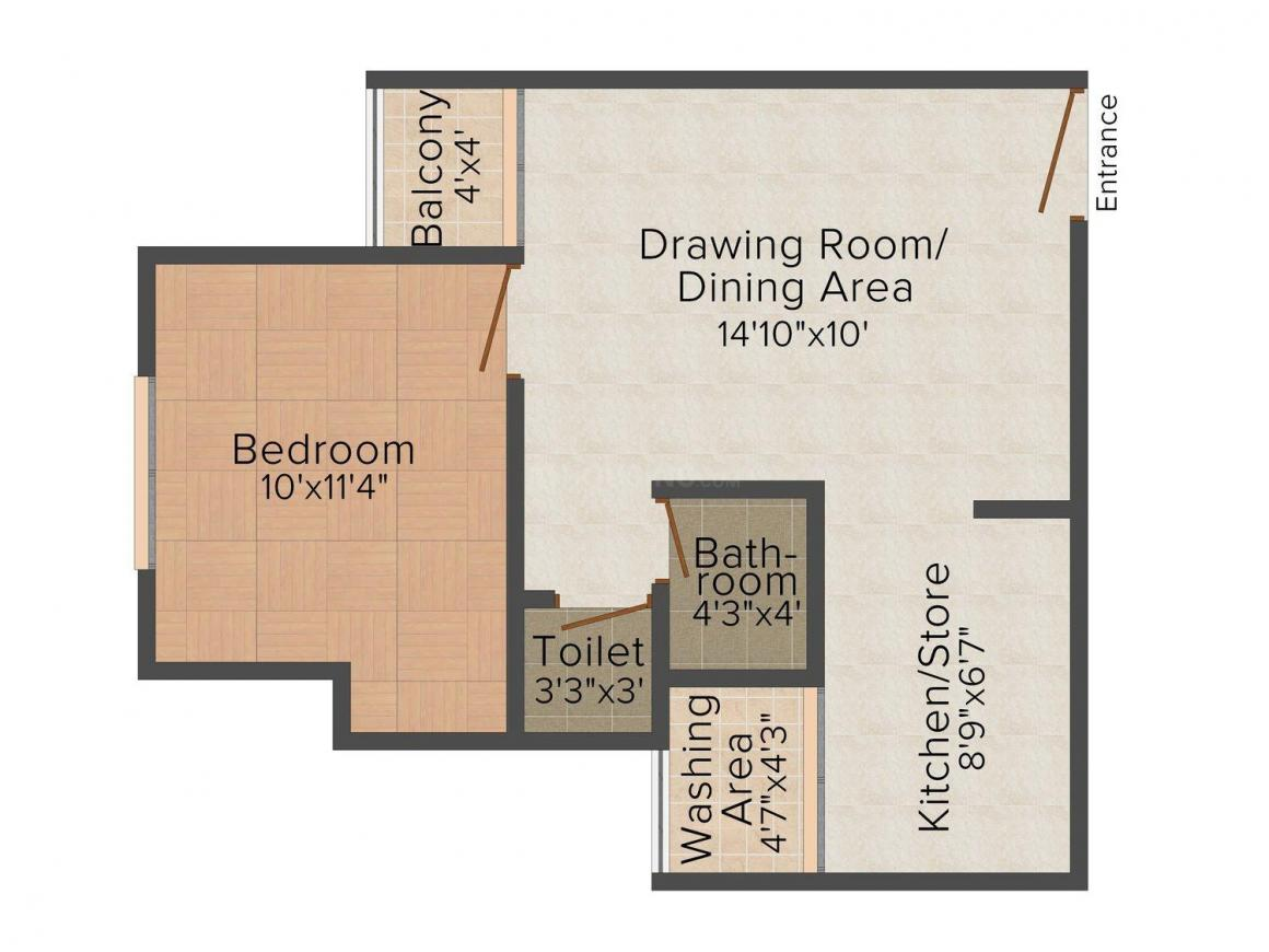 Savvy Strata Floor Plan: 1 BHK Unit with Built up area of 650 sq.ft 1