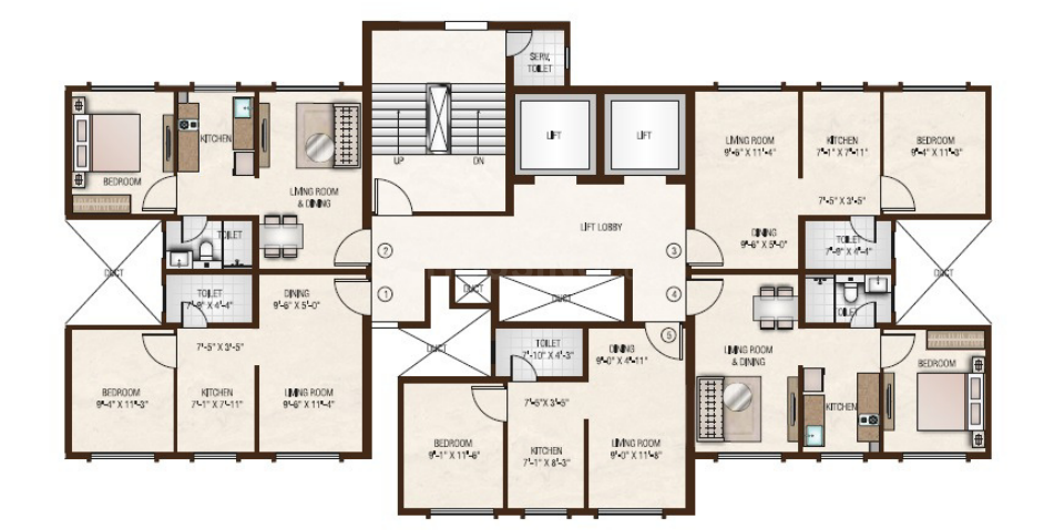 Hiranandani Maple A B and C Wing Floor Plan: 1 BHK Unit with Built up area of 382 sq.ft 1
