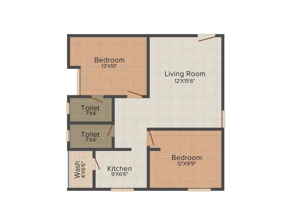 EAPL Sri Tirumala Flora Floor Plan: 2 BHK Unit with Built up area of 990 sq.ft 1