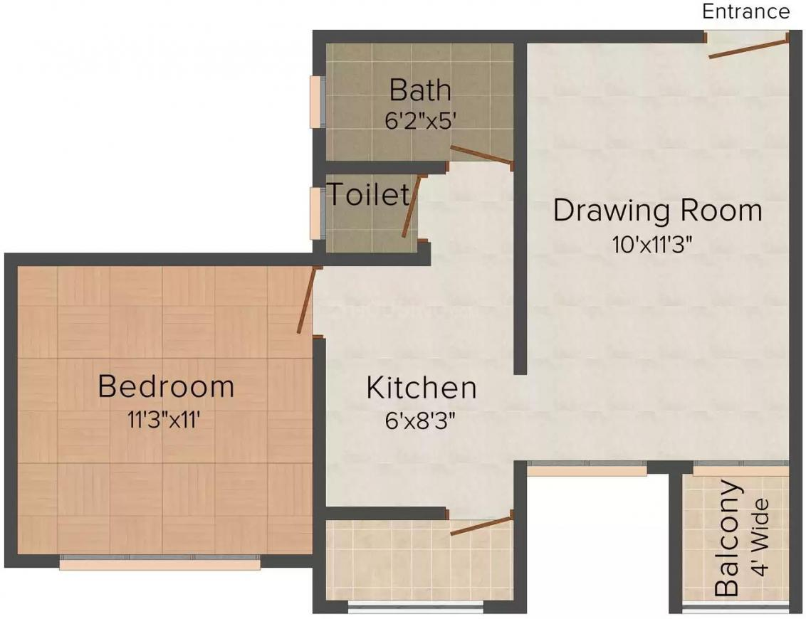 RS Shree Jee Homes Floor Plan: 1 BHK Unit with Built up area of 620 sq.ft 1