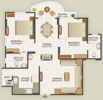 Classic Heights Floor Plan: 2 BHK Unit with Built up area of 1080 sq.ft 1