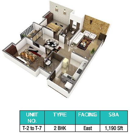 LVS Heights Floor Plan: 2 BHK Unit with Built up area of 1190 sq.ft 1