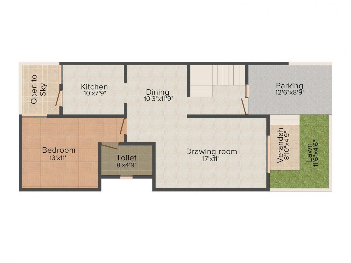 Floor Plan Image of 800.0 - 1768.0 Sq.ft 3 BHK Villa for buy in Pearl The Nest