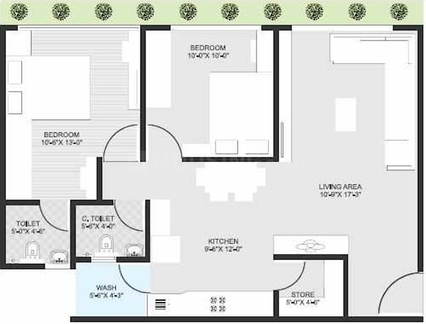 Rashmi Pearl Floor Plan: 2 BHK Unit with Built up area of 1197 sq.ft 1