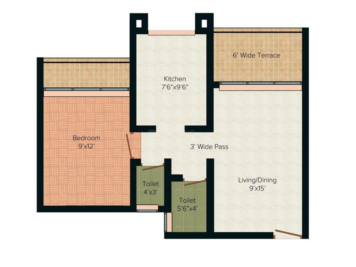 Floor Plan Image of 938.0 - 968.0 Sq.ft 1 BHK Apartment for buy in Triveni Triveni Flora