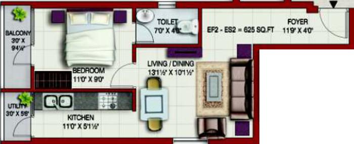 Colorhomes Elite Enclave Floor Plan: 1 BHK Unit with Built up area of 625 sq.ft 1