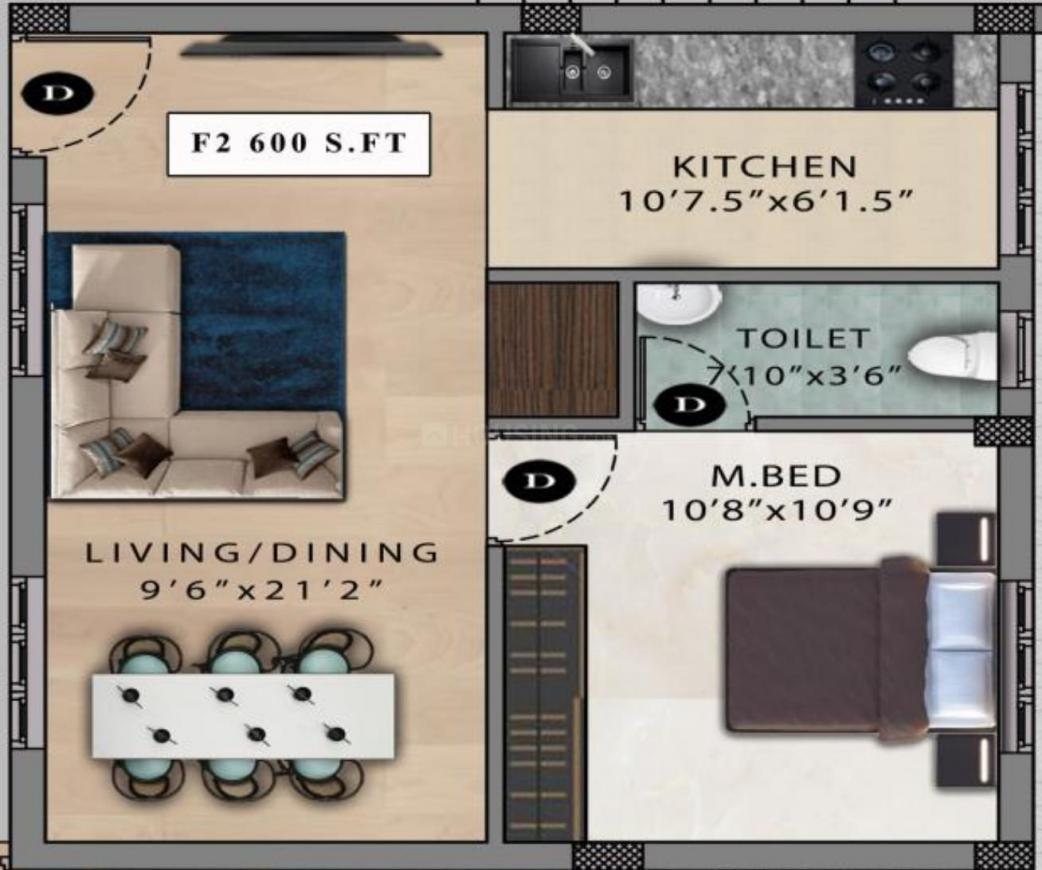 Viva Verve Floor Plan: 1 BHK Unit with Built up area of 600 sq.ft 1