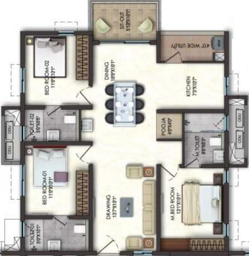 Lansum El Dorado Floor Plan: 3 BHK Unit with Built up area of 1540 sq.ft 1