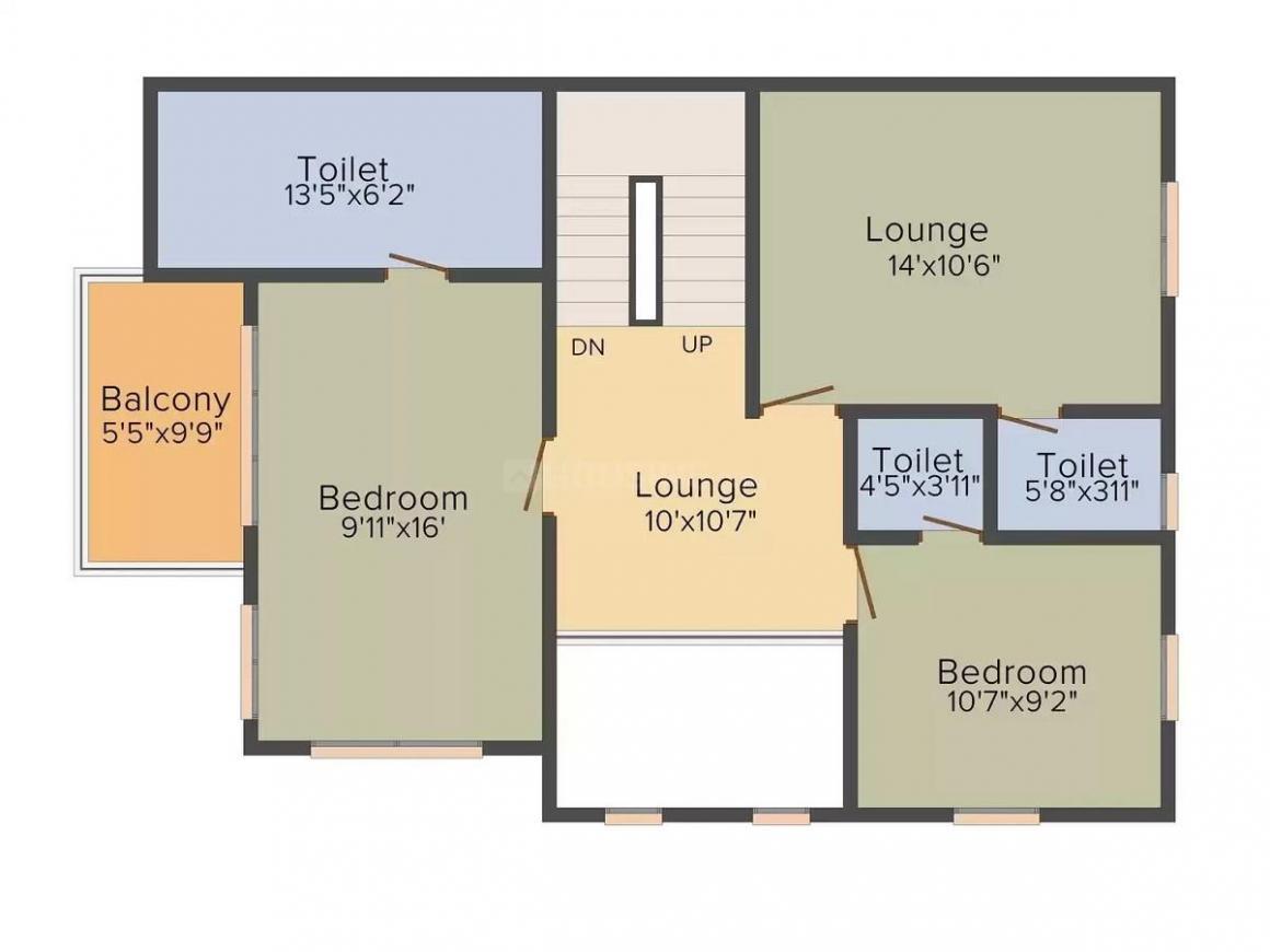 Bhakti Raj Floor Plan: 4 BHK Unit with Built up area of 1863 sq.ft 2