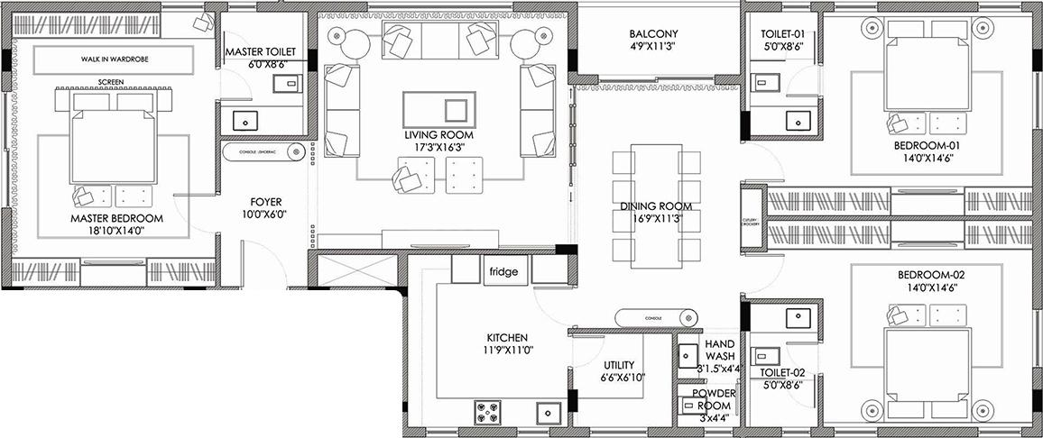 NXG Spinel Floor Plan: 3 BHK Unit with Built up area of 2315 sq.ft 1