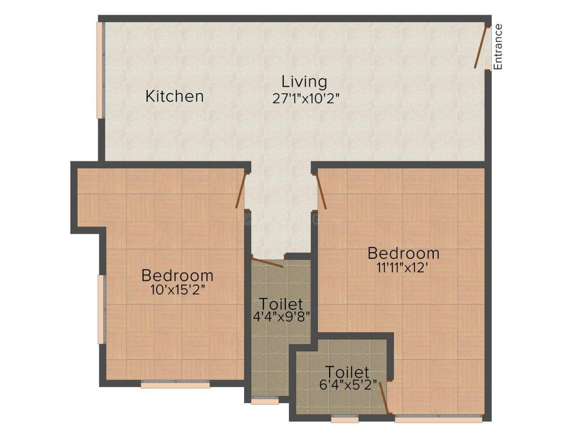Airport Residency Floor Plan: 2 BHK Unit with Built up area of 766 sq.ft 1