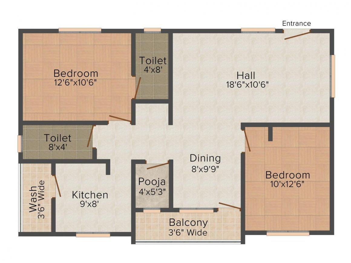 Floor Plan Image of 0 - 969.0 Sq.ft 2.5 BHK Apartment for buy in A & M Enterprises Residency