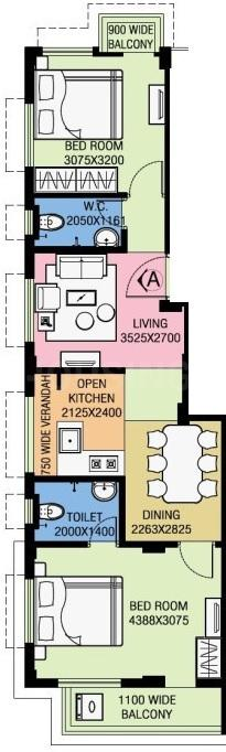 Dev Rajmandir CHS Floor Plan: 2 BHK Unit with Built up area of 613 sq.ft 1