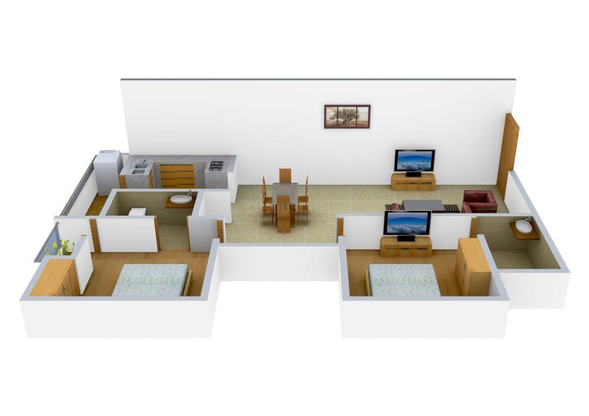 Floor Plan Image of 1000 - 1025 Sq.ft 2 BHK Apartment for buy in Sreemali Sai Leela Residency