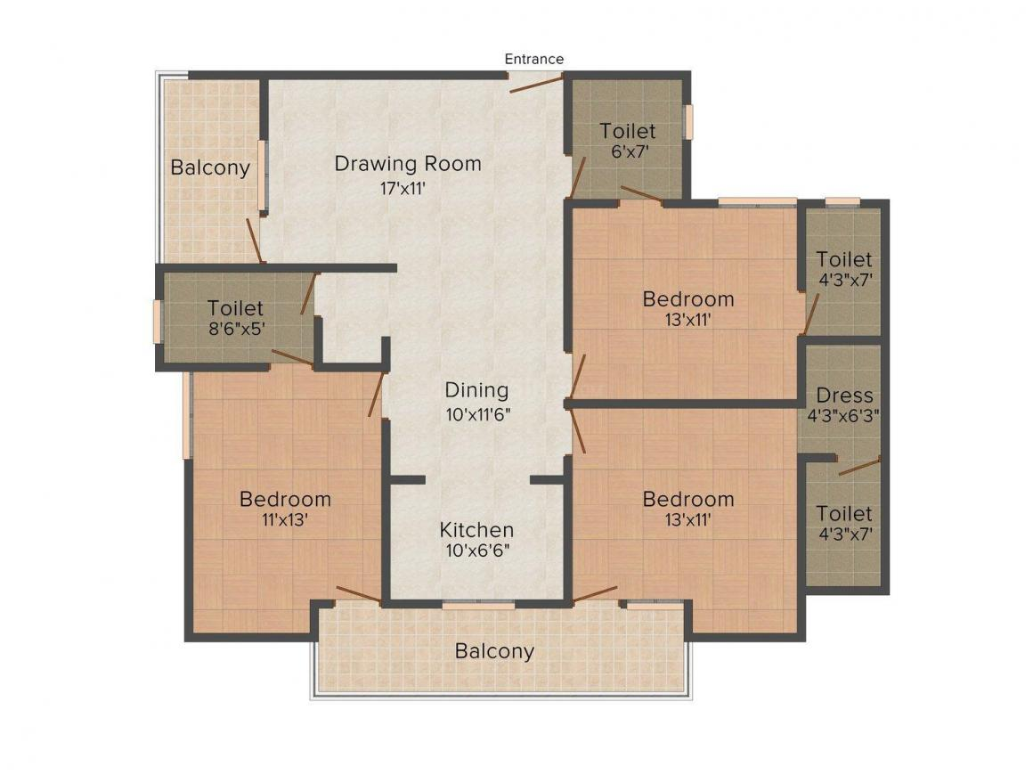 Omaxe Wisteria Floor Plan: 3 BHK Unit with Built up area of 1620 sq.ft 1