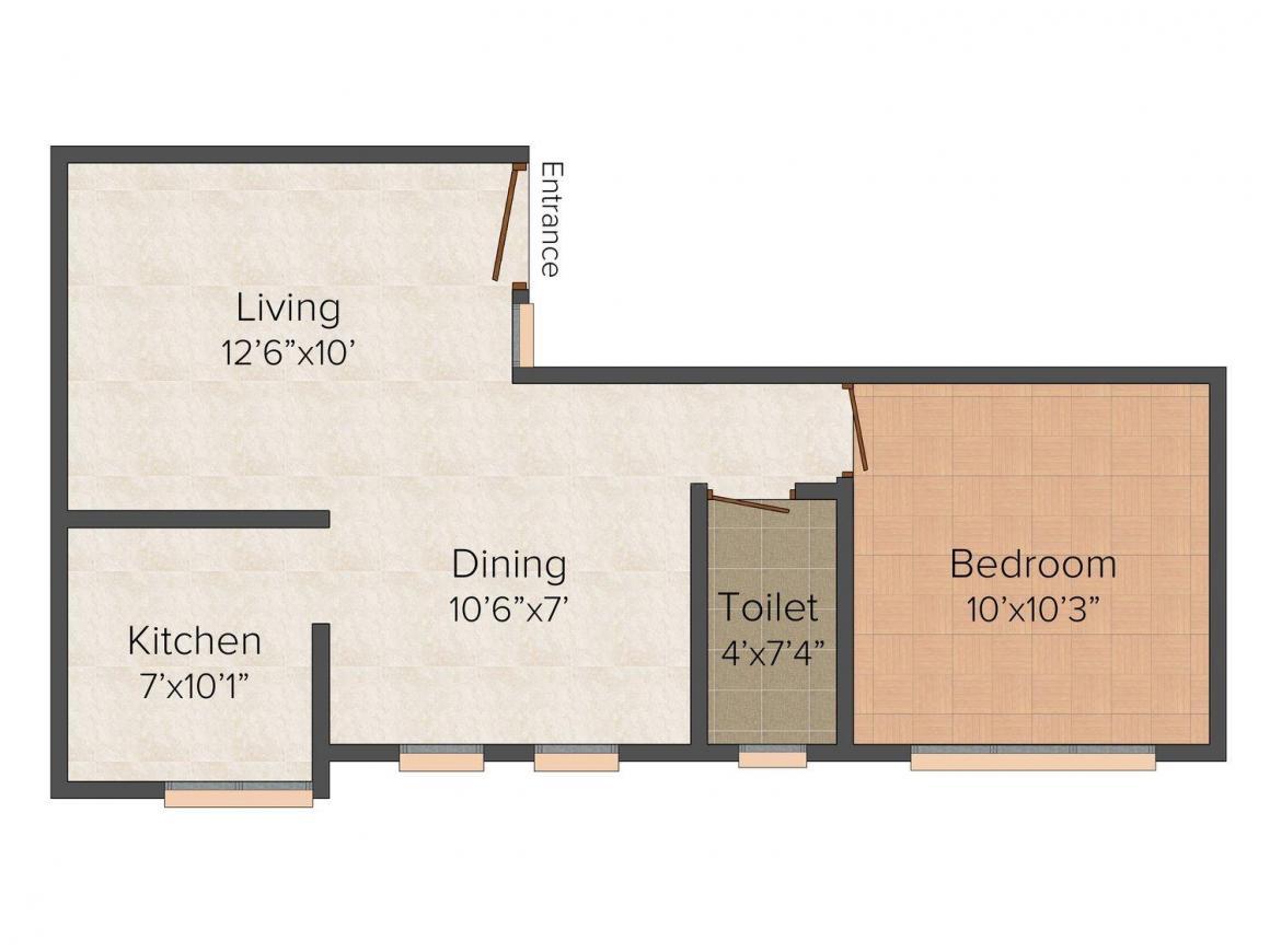 Floor Plan Image of 579.0 - 880.0 Sq.ft 1 BHK Apartment for buy in Rahul Sri Moogambigai