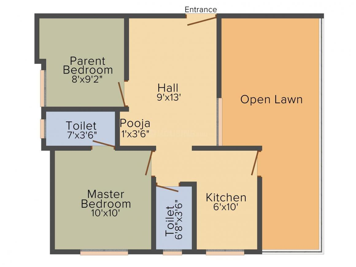 Salim's Spanish Arcade Floor Plan: 2 BHK Unit with Built up area of 575 sq.ft 1