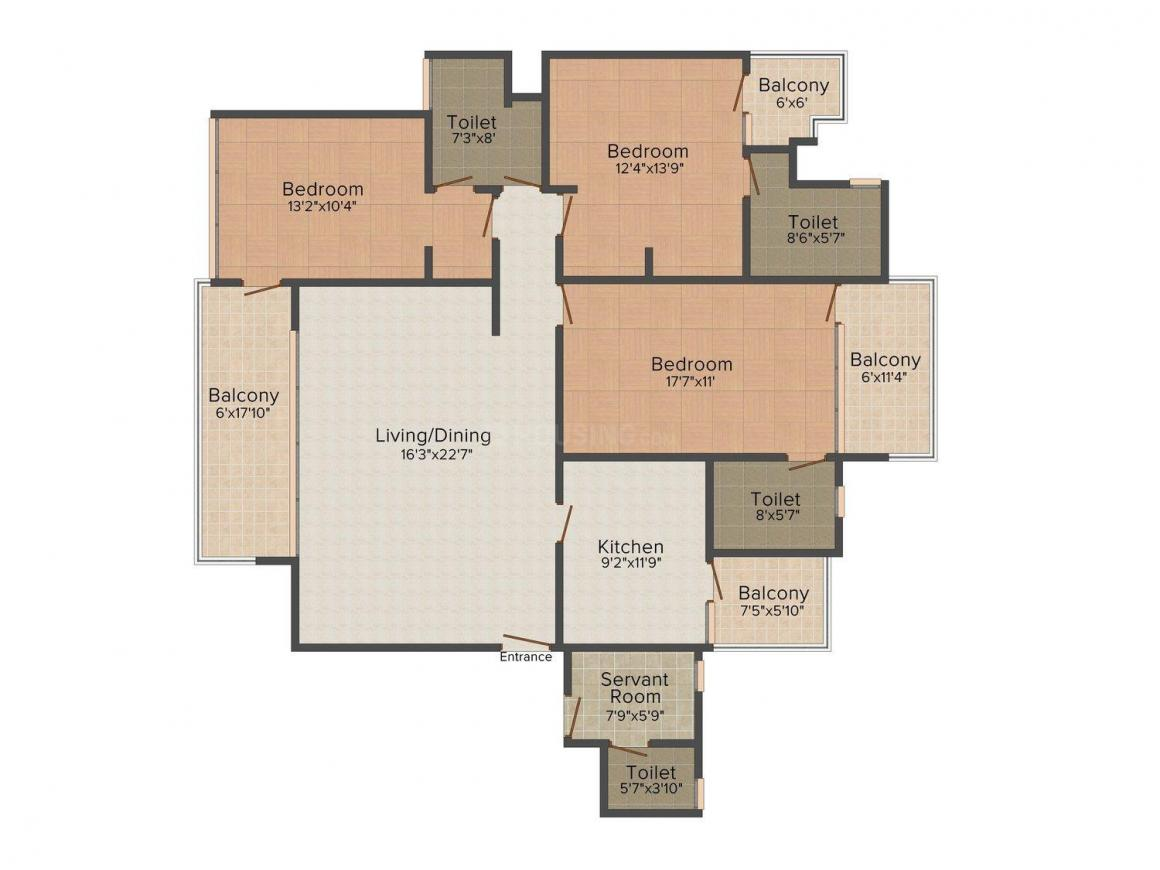 Lalit Homes 7 Floor Plan: 3 BHK Unit with Built up area of 2781 sq.ft 1