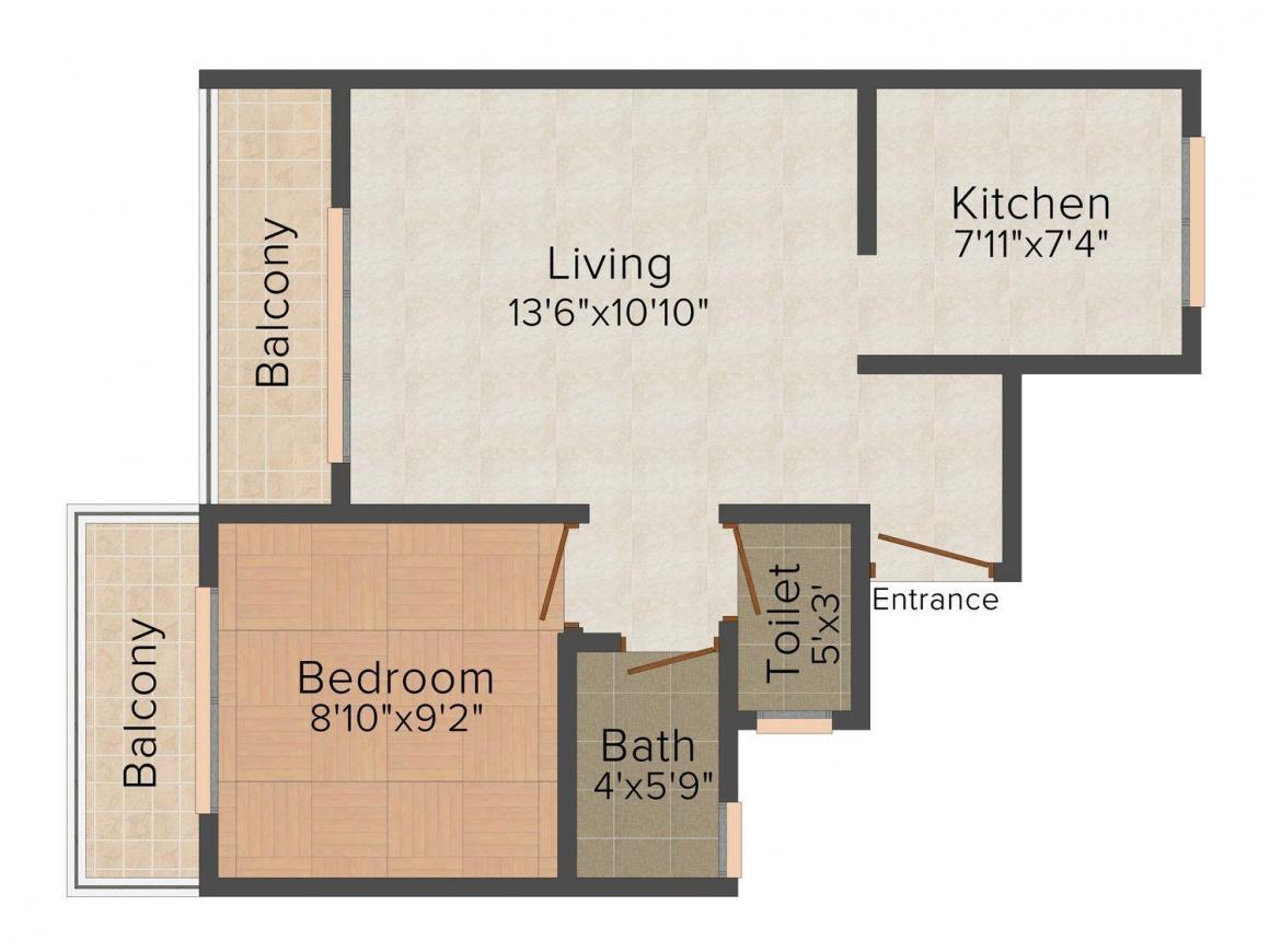 Floor Plan Image of 602.0 - 607.0 Sq.ft 1 BHK Apartment for buy in D'silva Sai Sankalp