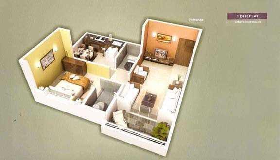 Sumeru Sushrut Residency Floor Plan: 1 BHK Unit with Built up area of 295 sq.ft 1