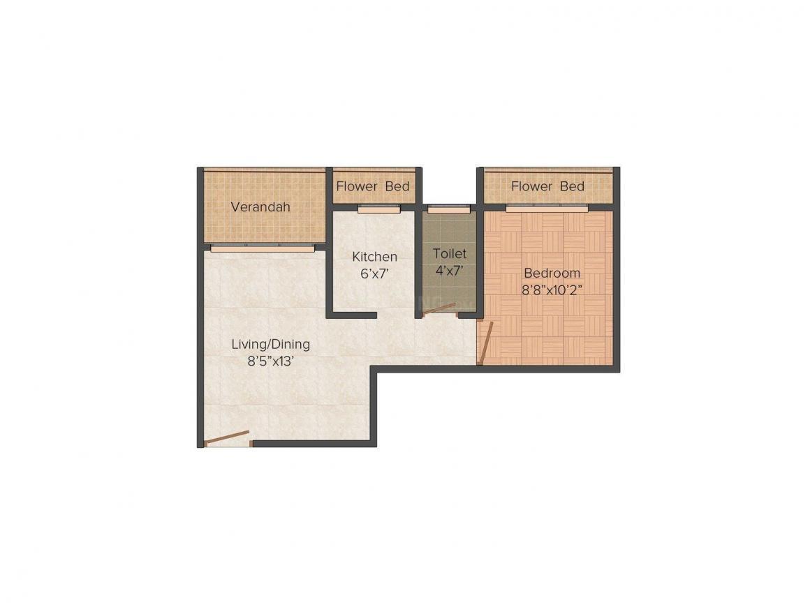 Floor Plan Image of 410.0 - 650.0 Sq.ft Studio Studio Apartment for buy in Dolphin Metro Point