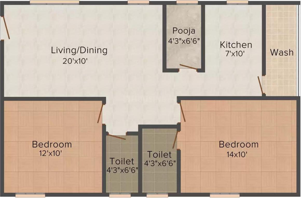 Maheshwari Shree Indira Sadan Floor Plan: 2 BHK Unit with Built up area of 1140 sq.ft 1