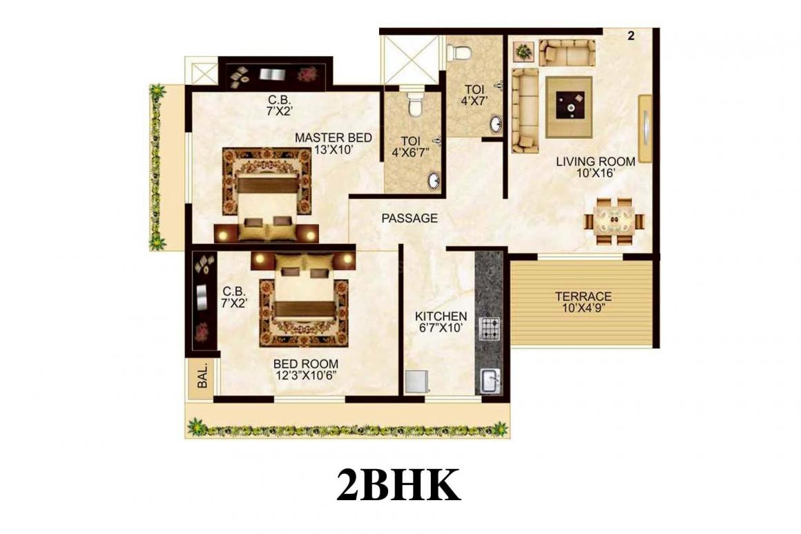 Amber Ellance Floor Plan: 2 BHK Unit with Built up area of 640 sq.ft 1