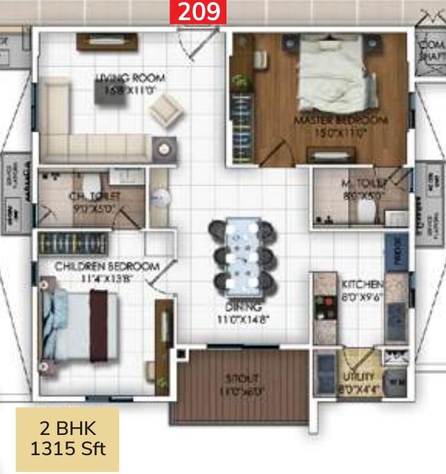 DSR RR Avenues Floor Plan: 2 BHK Unit with Built up area of 855 sq.ft 1