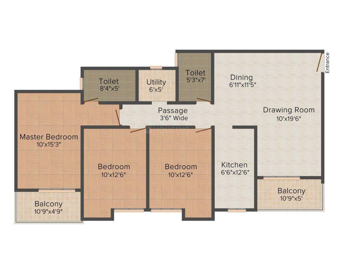 The Orbit Kanishka Floor Plan: 3 BHK Unit with Built up area of 1480 sq.ft 1