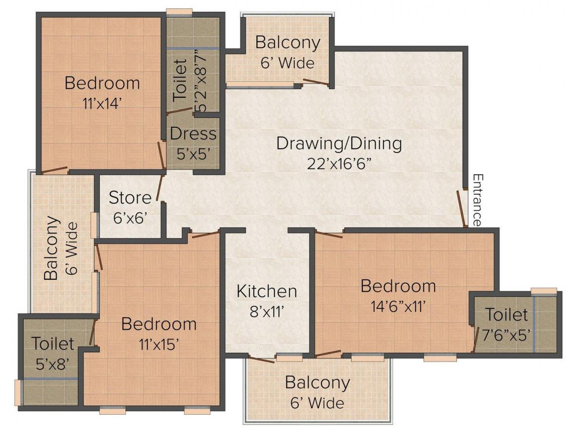 Floor Plan Image of 0 - 2400 Sq.ft 3 BHK Independent Floor for buy in Realty Floors 3