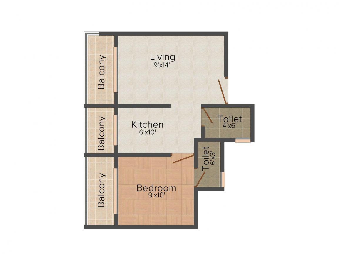Floor Plan Image of 625 - 850 Sq.ft 1 BHK Apartment for buy in Yashraj Sai Simran