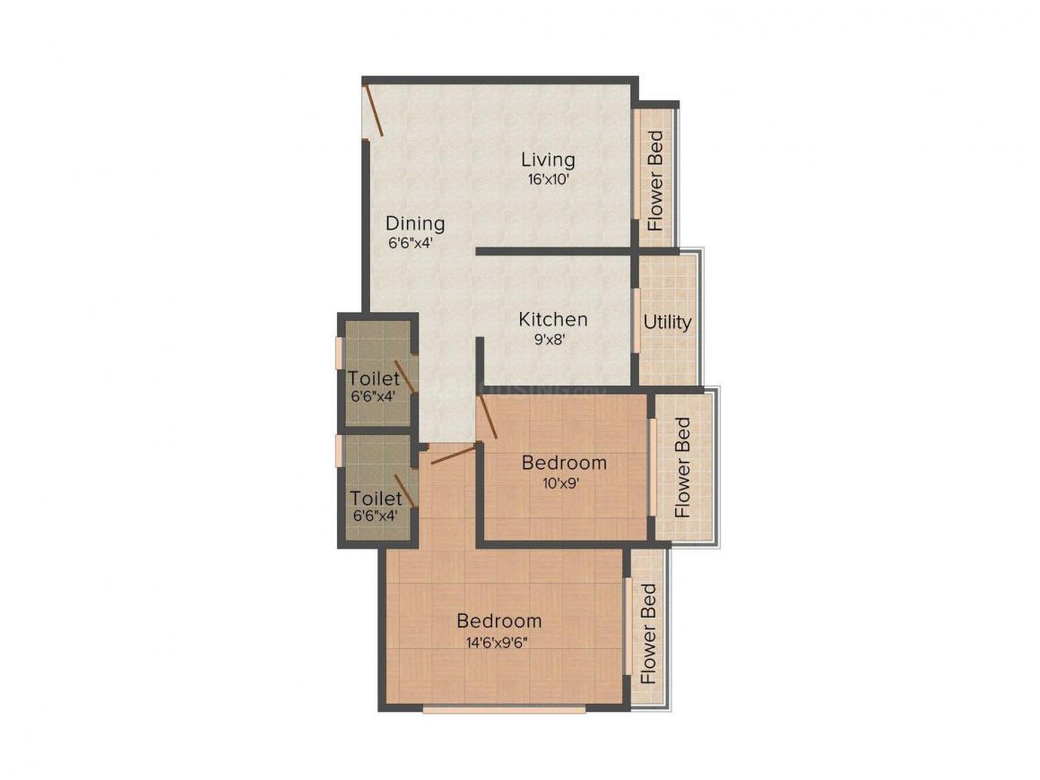 Floor Plan Image of 1067 - 1100 Sq.ft 2 BHK Apartment for buy in Pratik Khushi Residency