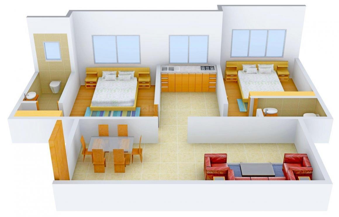 Floor Plan Image of 645 - 651 Sq.ft 2 BHK Apartment for buy in Dipti Koteshwar Darshan