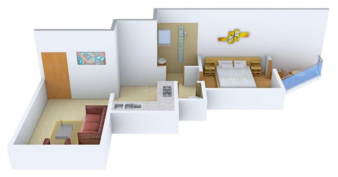 Floor Plan Image of 595.0 - 850.0 Sq.ft 1 BHK Apartment for buy in Thakkers Paradise